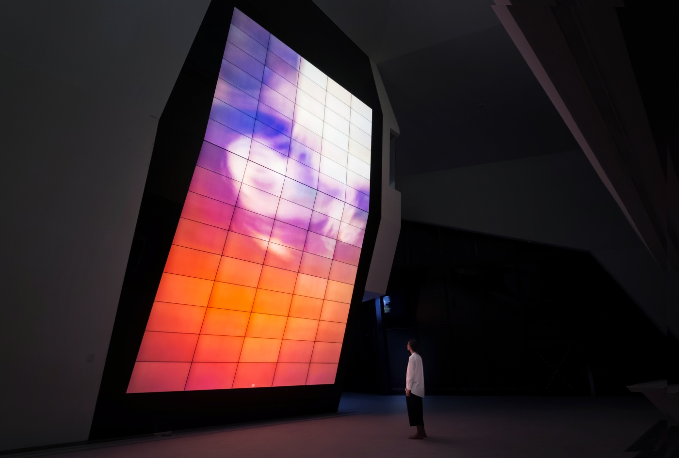 : A permanent installation of three ever-changing generative artworks, designed as metaphors for the spirit of scientific research by FIELD.IO